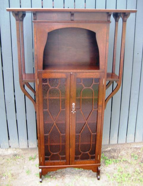 Art Nouveau Silky Oak Bookcase   SOLD