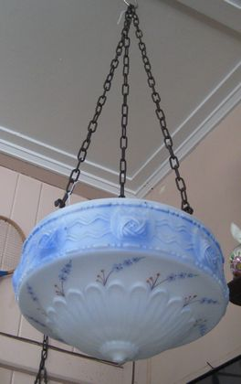 Blue Glass Light Fitting   SOLD