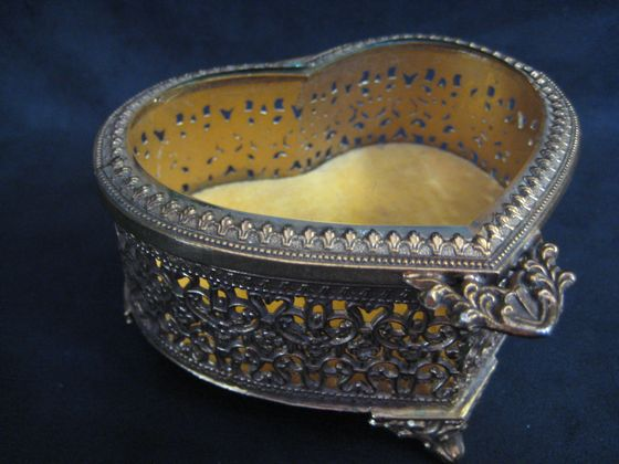 Brass Filigree Trinket Box   SOLD